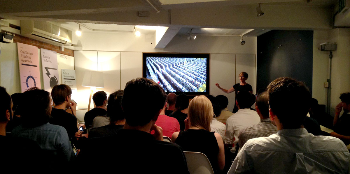 Talk on Implicit Interactions at IxDA London by Karey Helms, photo by Jill Lin