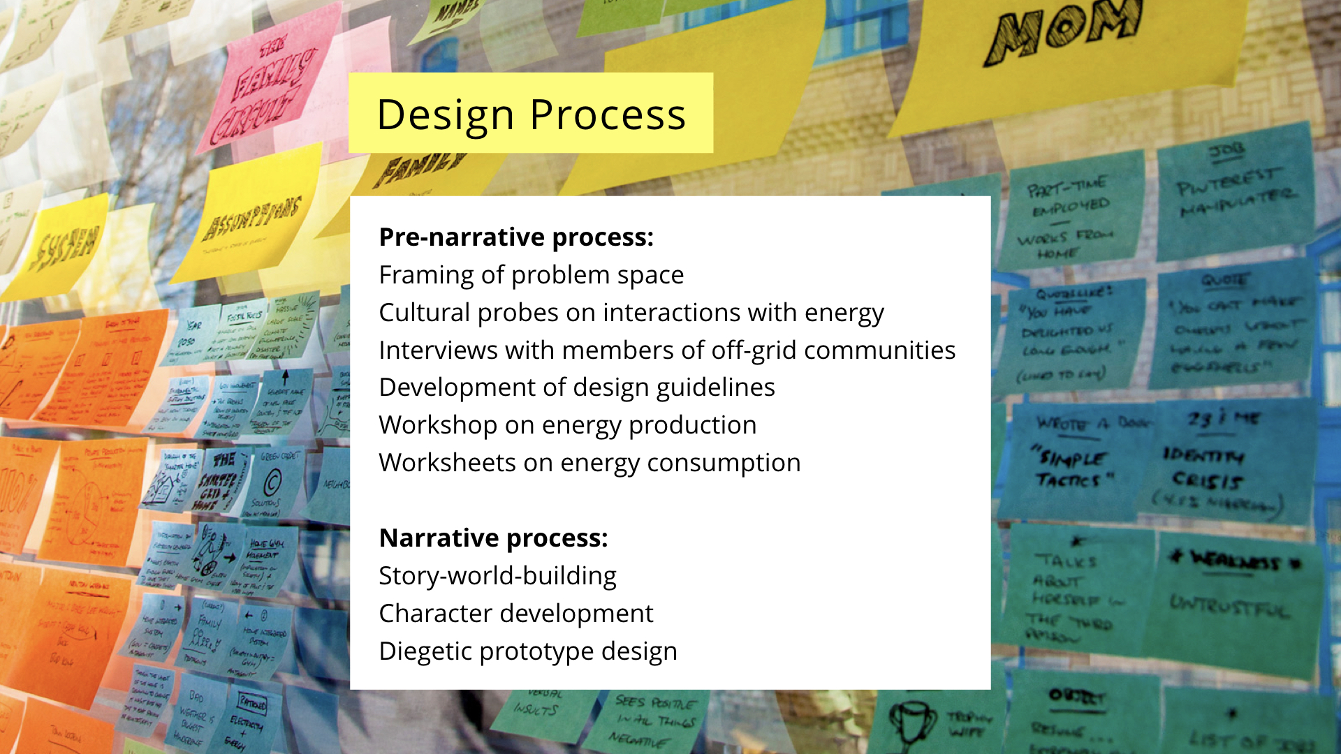 NordiCHI future scenarios presentation: Design fiction design process