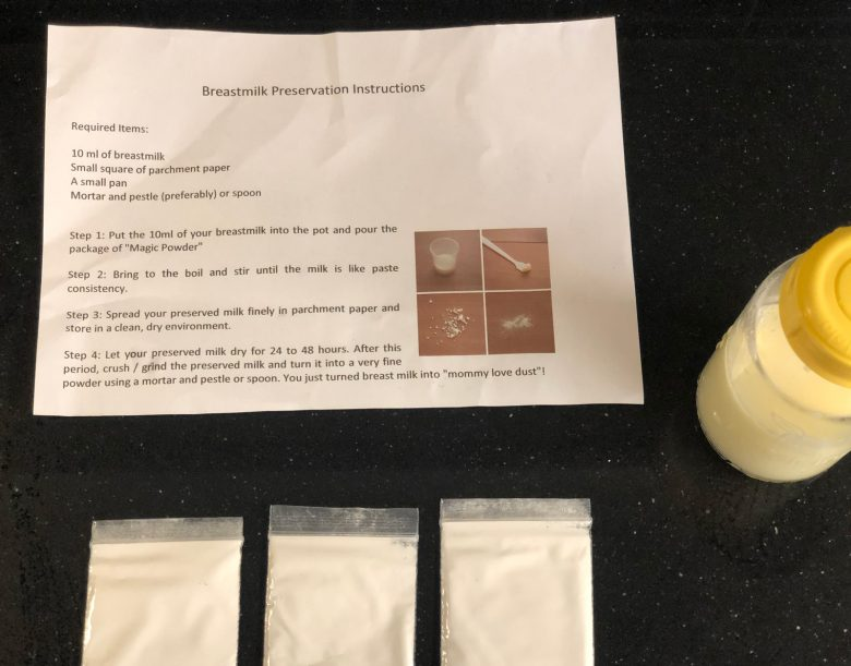 """Magic powder"" purchased online to solidify and preserve breastmilk"