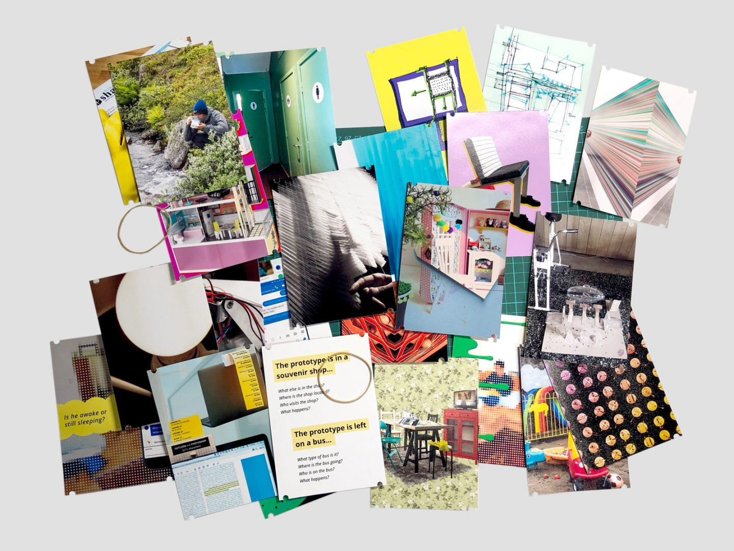 Cards (image or abstract sides) can be sorted, shuffled, and mingled as a way to deconstruct and reconstruct a design space